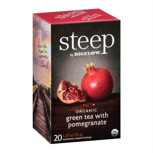 Bigelow Tea Steep Organic Green Tea With Pomegranate (6x20 Bag ) - Rhea Manor Natural Market