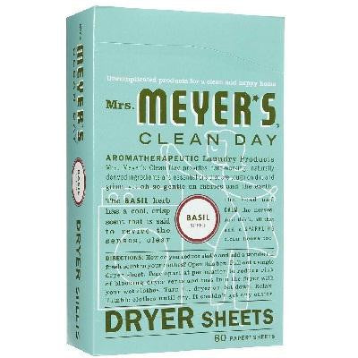 Mrs Meyers Dryer Sheets Basil (12x80 Ct) - Rhea Manor Natural Market