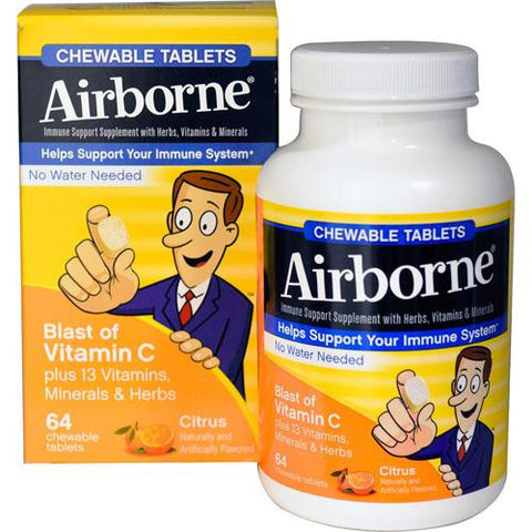 Airborne Chewable Tablets With Vitamin C Citrus (1x64 Tablets)
