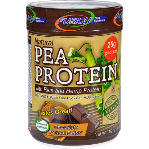 Fusion Diet Systems Pea Protein  Natural  Chocolate Peanut Butter  16 Oz