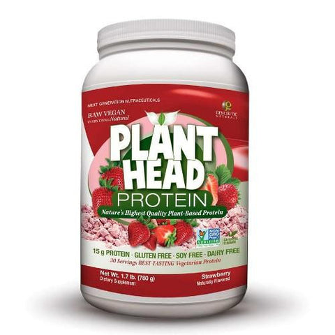 Genceutic Naturals Plant Head Protein  Strawberry  1.7 Lb