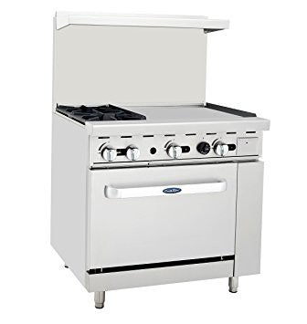 "Atosa 36"" 2 Burner Range with 24"" Griddle (Left or Right Configuration) - Food Service Supply"