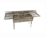 "HDS-3-2D 84"" Heavy Duty 3 Compartment Sink with Right and Left Drainboards - Food Service Supply"