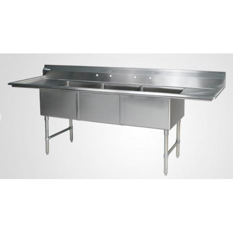 "ECS32D24  (3) Compartment Sink 102"" With 24"" Drainboards - Food Service Supply"