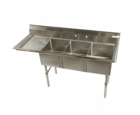 "ECS-3-DR/L 3 Compartment Sink with 1 drainboard Right or Left 68.5"" - Food Service Supply"