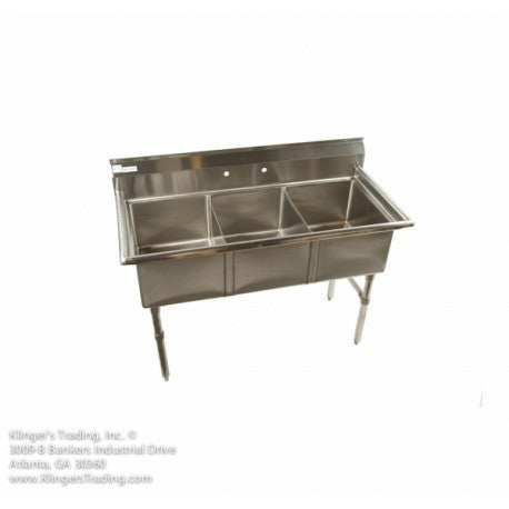 "ECS-3 (3) Compartment Sink No Drainboards 53"" - Food Service Supply"