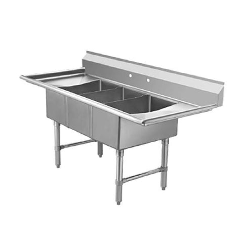 "ECS3SM-2D (3) Compartment Sink 60"" with 12"" Drainboards - Food Service Supply"