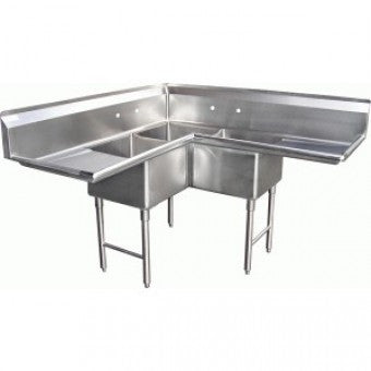 Klingers Trading 3 Compartment Corner Sink EIT-3C-2D - Food Service Supply