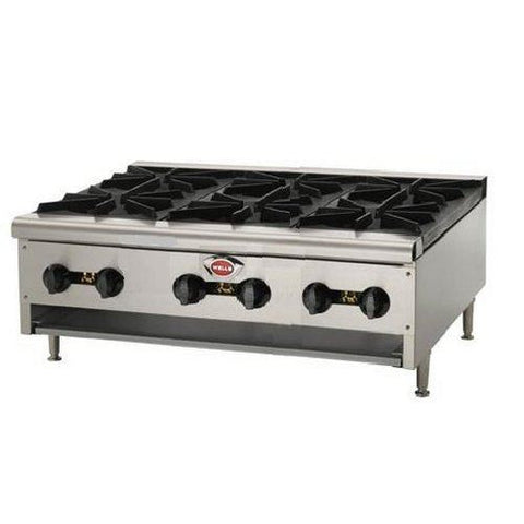 Wells 6 Burner Hot Plate HDHP3630 Natural gas or Liquid Propane - Food Service Supply