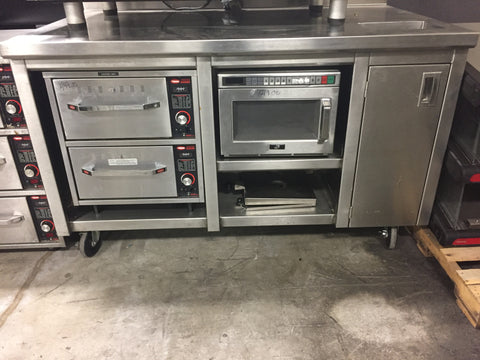 Custom Cabinet with Warming Drawers, Microwave, and Trash Receptacle - Food Service Supply