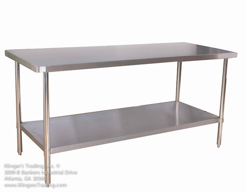 "STAINLESS STEEL 30X84"" STAINLESS STEEL TABLE WITH OR WITHOUT BACKSPLASH KLINGERS TRADING SG3084 - Food Service Supply"