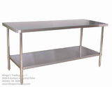 "STAINLESS STEEL 24X36"" STAINLESS STEEL TABLE WITH OR WITHOUT BACKSPLASH KLINGERS TRADING SG2436 - Food Service Supply"