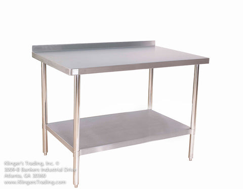 "STAINLESS STEEL 30X18"" STAINLESS STEEL TABLE WITH BACKSPLASH KLINGERS TRADING BSG3018 - Food Service Supply"