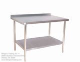 "STAINLESS STEEL 30X72"" STAINLESS STEEL TABLE WITH OR WITHOUT BACKSPLASH KLINGERS TRADING SG3072 - Food Service Supply"