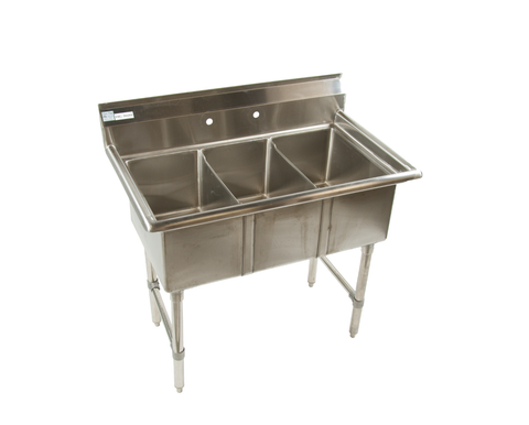 MCS-3 3 Compartment Sink No Drainboards - Food Service Supply