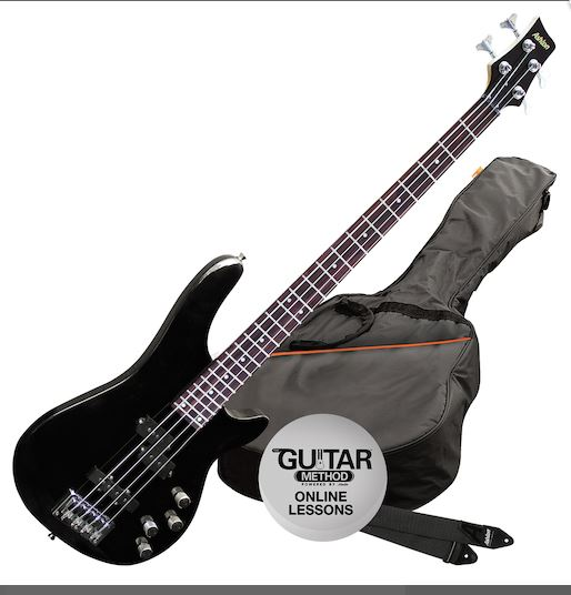 ASHTON BASS GUITAR WITH GIG BAG BLACK