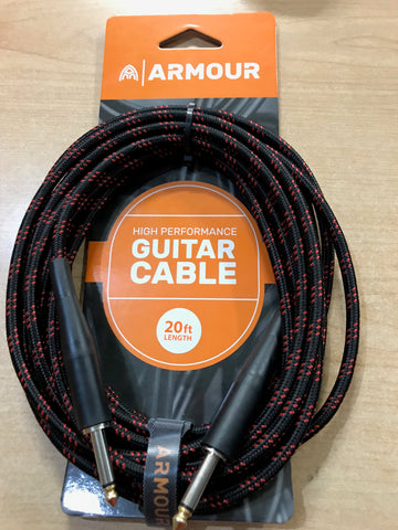 020 Ft Guitar Cable Woven Red Stripe