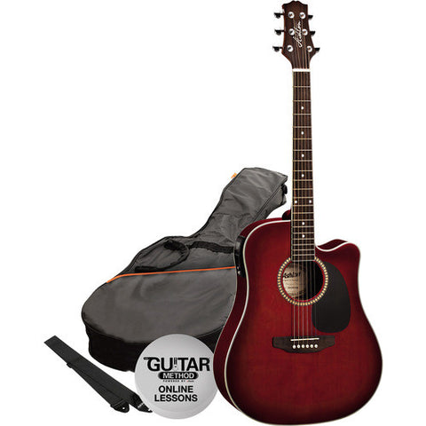 Acoustic/Electric Gtr Pack W/C-Ay Wine Red Burst