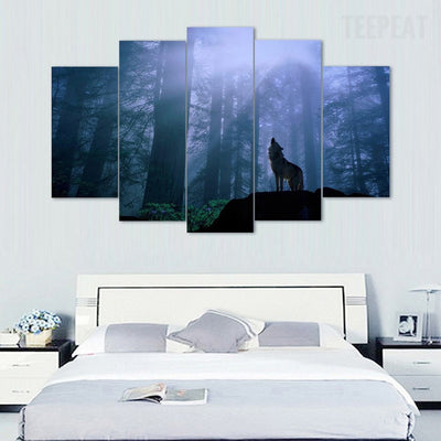 Lone Wolf Howl - 5 Piece Canvas Painting-Canvas-TEEPEAT