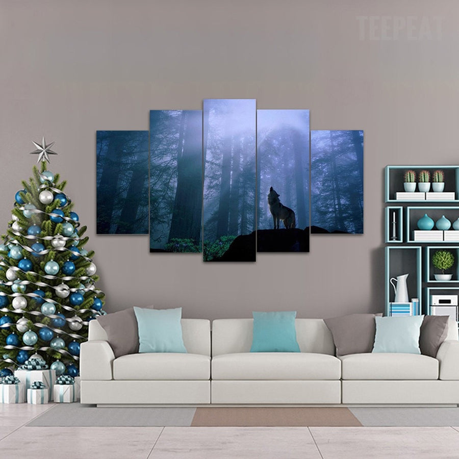 Lone Wolf Howl - 5 Piece Canvas Painting