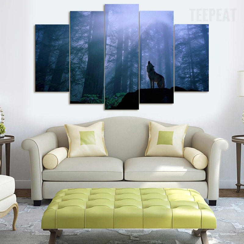 Lone wolf howl 5 piece canvas painting empire prints for Dragon ball z living room