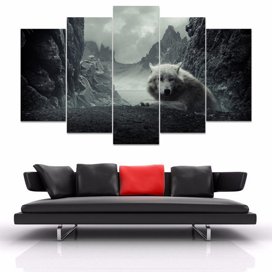 Lone Wolf Painting - 5 Piece Canvas