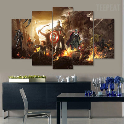 The Avengers - 5 Piece Canvas Painting-Canvas-TEEPEAT