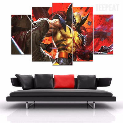 "Wolverine ""Good Thing I Can't Die"" - 5 Piece Canvas Painting-Canvas-TEEPEAT"