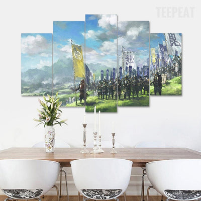March of the Samurai - 5 Piece Canvas Painting-Canvas-TEEPEAT