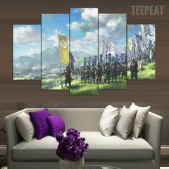 March of the Samurai - 5 Piece Canvas Painting