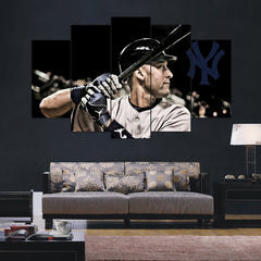 Jeter at Bat- 5 Piece Canvas Painting