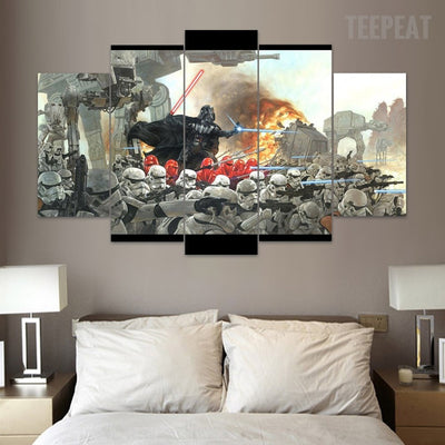 Vaders War - 5 Piece Canvas Painting-Canvas-TEEPEAT