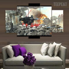 Vaders War - 5 Piece Canvas Painting