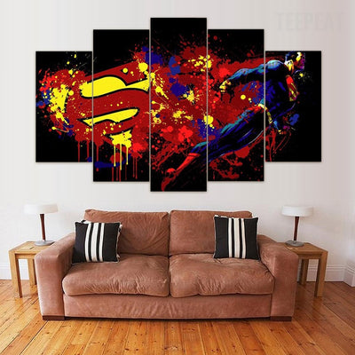 Superman Graffiti - 5 Piece Canvas Painting-Canvas-TEEPEAT