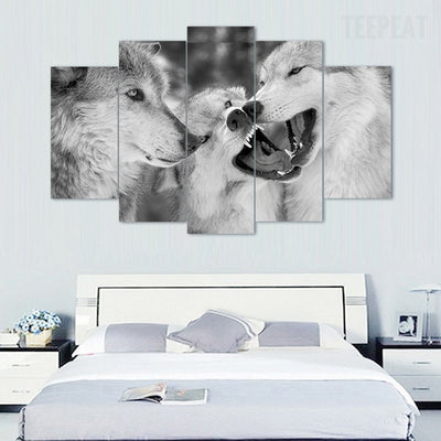 Wolf Pack Painting - 5 Piece Canvas-Canvas-TEEPEAT