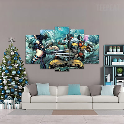 "X Men ""Wolverine"" - 5 Piece Canvas Painting-Canvas-TEEPEAT"