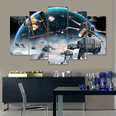 Star Wars Battle - 5 Piece Canvas Painting-Canvas-TEEPEAT
