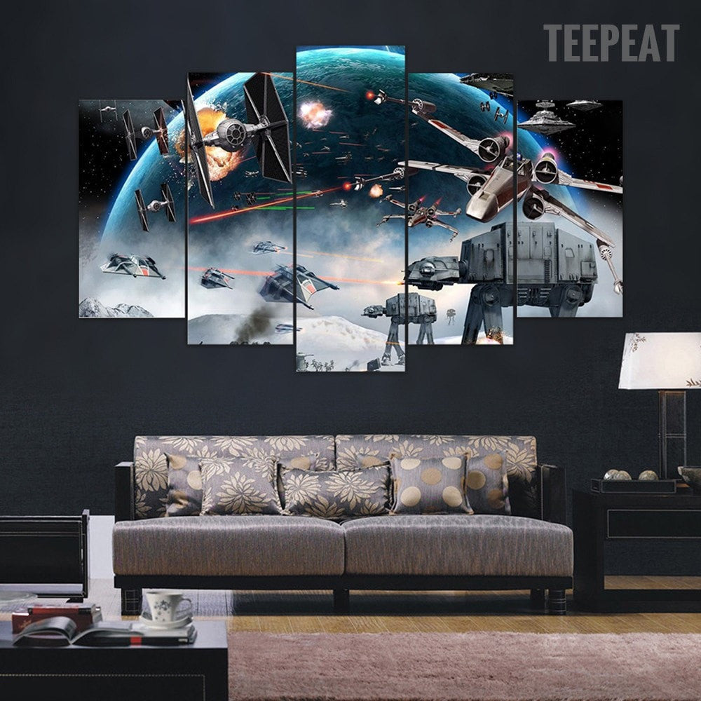 Star wars battle 5 piece canvas painting