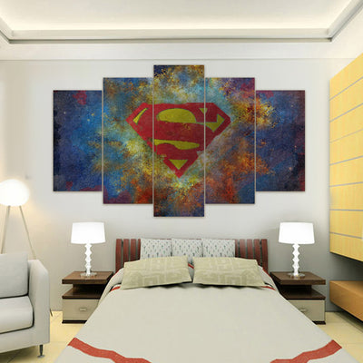Superman Logo - 5 Piece Canvas Painting-Canvas-TEEPEAT