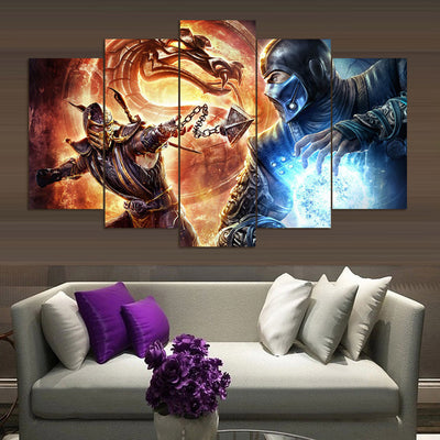 Mortal Kombat V2 - 5 Piece Canvas Painting-Canvas-TEEPEAT