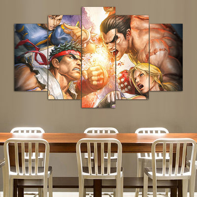 "Street Fighter ""Clash"" - 5 Piece Canvas Painting-Canvas-TEEPEAT"