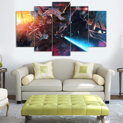 Sword Art Online V2 - 5 Piece Canvas Painting-Canvas-TEEPEAT