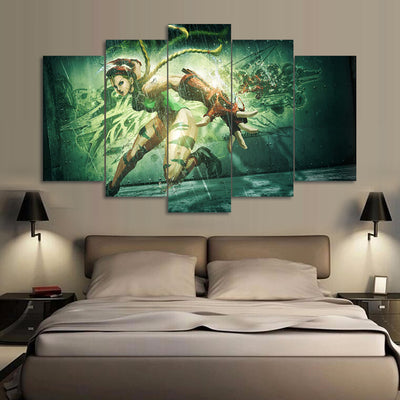 Street Fighter Green - 5 Piece Canvas Painting-Canvas-TEEPEAT
