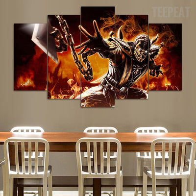 Mortal Kombat - Scorpion - 5 Piece Canvas Painting-Canvas-TEEPEAT