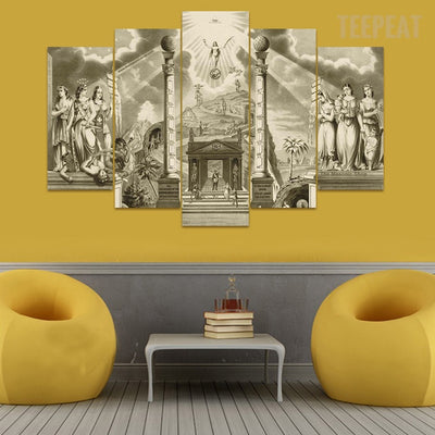 Gates Of Heaven - 5 Piece Canvas Painting-Canvas-TEEPEAT