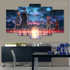 "FairyTale ""Fade Into Sunset""  - 5 Piece Canvas Painting"