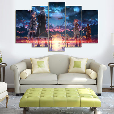 "FairyTale ""Fade Into Sunset"" - 5 Piece Canvas Painting-Canvas-TEEPEAT"