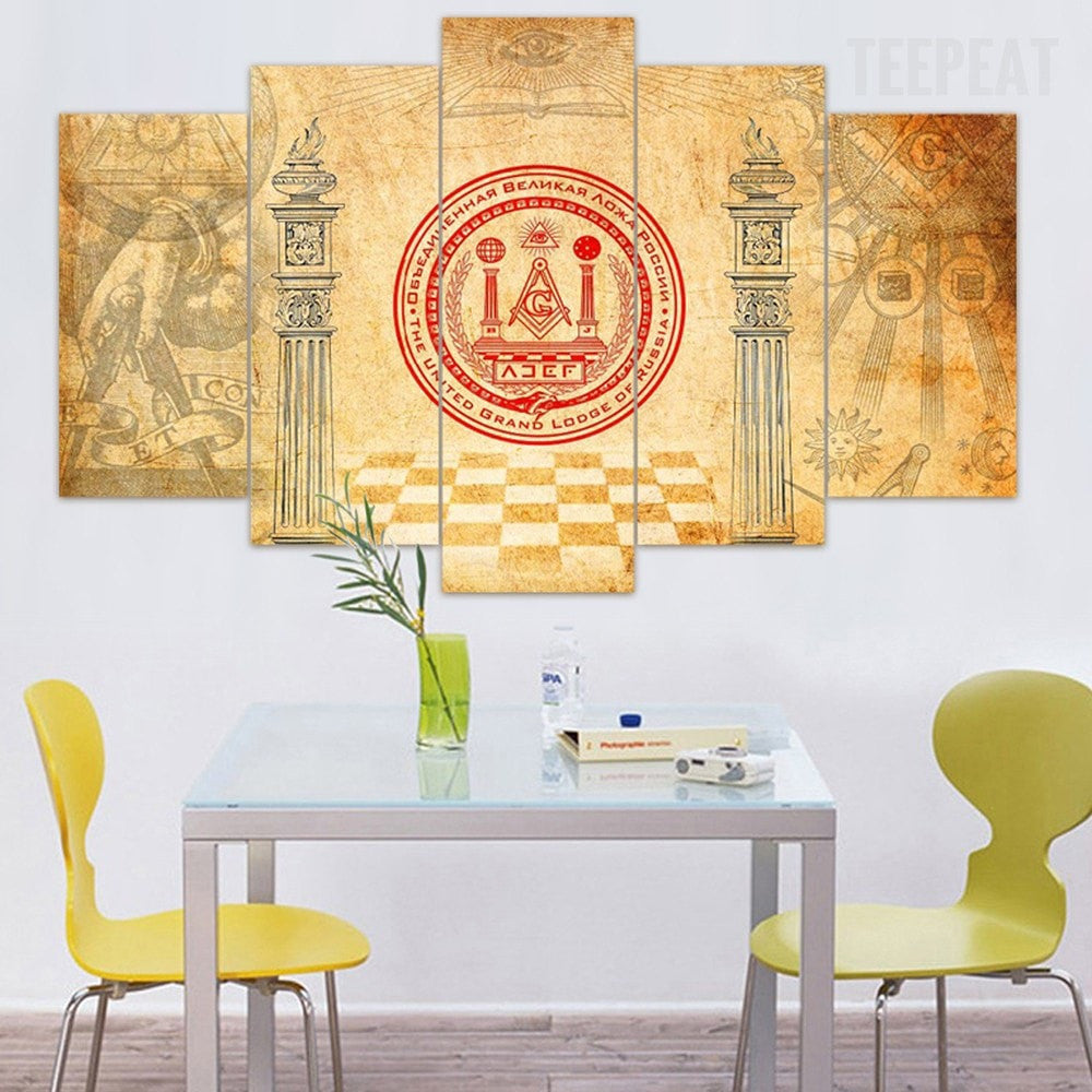 United Grand Lodge Of Russia - 5 Piece Canvas Painting - Empire Prints