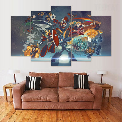Megaman Painting - 5 Piece Canvas Painting-Canvas-TEEPEAT