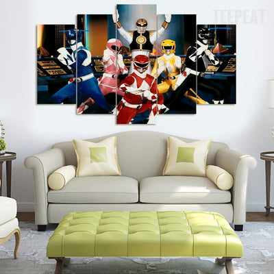 Power Rangers - 5 Piece Canvas Painting-Canvas-TEEPEAT